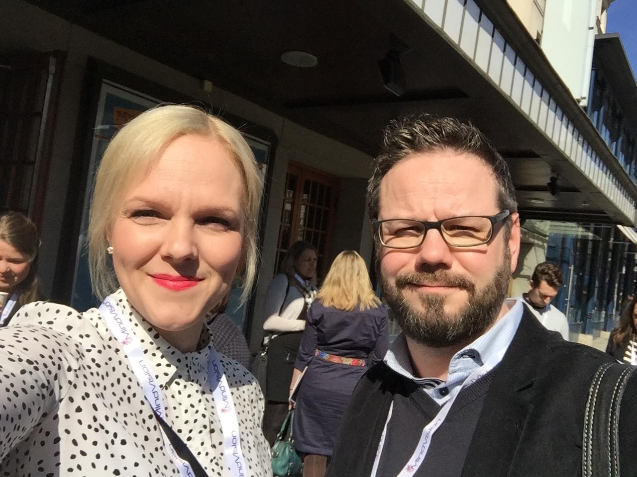Super Content Marketing 2016 tarjosi Maaritille ja Janille gurupuheita ja kirkasta Tukholman aurinkoa.